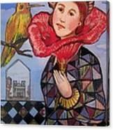 Flower Girl With Bird Canvas Print