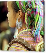 Flower Hmong Woman Canvas Print