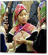 Flower Hmong Women Canvas Print
