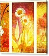 Flower Love Triptic Canvas Print