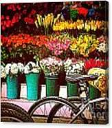 Flower Market With Bike Canvas Print