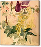 Flower Piece With Iris Laburnum And Geranium Canvas Print