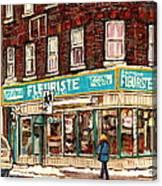 Flower Shop Rue Notre Dame Street Coin Vert Fleuriste Boutique Montreal Winter Stroll Scene Canvas Print
