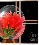 Flower Snow Globe At Window Canvas Print