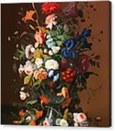 Flower Still Life With A Bird's Nest Canvas Print