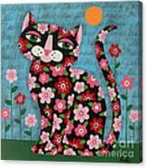 Flowered Calico Black Cat Canvas Print