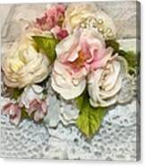 Flowers And Lace Canvas Print