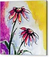 Flowers And Ladybug  Canvas Print