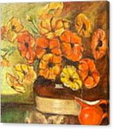 Flowers And Red Pitcher Canvas Print