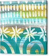 Flowers And Waves- Abstract Pattern Painting Canvas Print