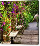 Flowers By A Bench  Canvas Print