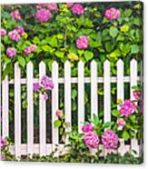Flowers - Floral - White Picket Fence Canvas Print