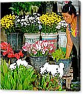 Flowers For Sale In Marketplace In Tachilek-burma Canvas Print
