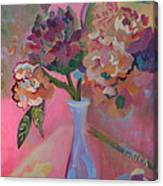 Flowers In A Lavender Vase Canvas Print