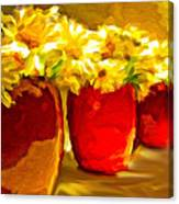 Flowers In A Row Canvas Print