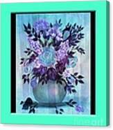 Flowers In A Vase With Blue Border Canvas Print