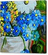 Flowers In A White Vase Canvas Print