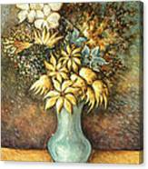 Flowers In Blue Vase - Still Life Oil Canvas Print