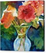 Flowers In Glass Vase Canvas Print
