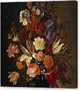 Flowers In Glass Vase With Shells C1625 Canvas Print