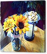 Flowers On Table Canvas Print