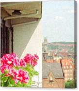 Flowers On The Balcony Canvas Print