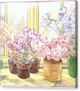 Flowers On The Windowsill Canvas Print