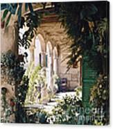 Flowery Majorquin  Patio In Valdemosa Canvas Print