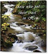 Flowing Creek With Scripture Canvas Print