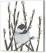Chickadee Art Hand-torn Newspaper Collage Art By Keiko Suzuki Bless Hue Canvas Print