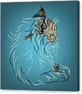 Fluffy Gray Cat In Profile Canvas Print