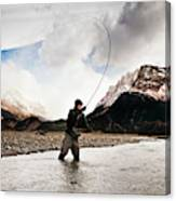 Fly Fishing At The Base Of Fitz Roy Canvas Print