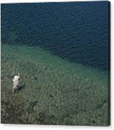 Fly Fishing In Alpine Lake Canvas Print