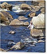 Fly Fishing On Mountain River Canvas Print