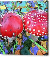 Fly-fungus With Blue Leaves By M.l.d.moerings 2009 Canvas Print