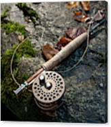 Fly Rod And Reel Detail On Mossy Wet Canvas Print