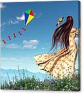 Flying A Kite Canvas Print
