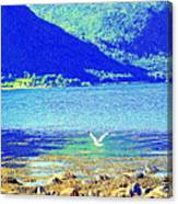 Seagull Flying Low, Mountains Standing Tall  Canvas Print