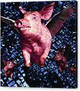 Flying Pigs Over San Francisco - Square Canvas Print