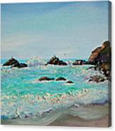 Foamy Ocean Waves And Sandy Shore Canvas Print