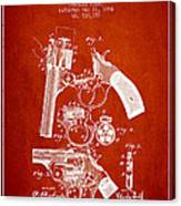 Foehl Revolver Patent Drawing From 1894 - Red Canvas Print