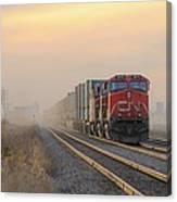Fog Train In Winnipeg Manitoba Canvas Print