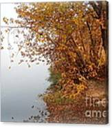 Foggy Autumn Riverbank Canvas Print
