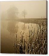 Foggy Day At Silver Lake Canvas Print