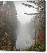 Foggy Fall River Canvas Print