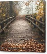 Foggy Lake Park Footbridge Canvas Print