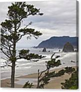 Foggy Morning At Tolovana Beach Oregon 2 Canvas Print