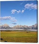Foggy Sunrise On The Tetons - Grand Teton National Park Wyoming Canvas Print