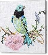 Folk Art Bird Embroidery Illustration Canvas Print