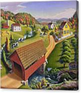 Folk Art Covered Bridge Appalachian Country Farm Summer Landscape - Appalachia - Rural Americana Canvas Print